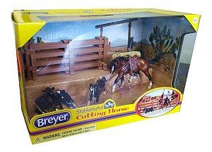 Stablemates Breyer Cutting Horse Cavalo + Mini Vaca 1:32