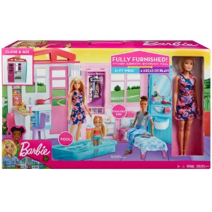 Barbie Playset Boneca e Casa Glamour Close e Go Mattel Fxg55