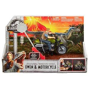Jurassic World Perseguiçao Jurassica Owen e Motorcycle Fmm32