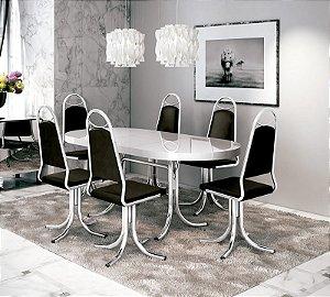 Mesa de Jantar Brigatti M-846 e Cadeiras C-64