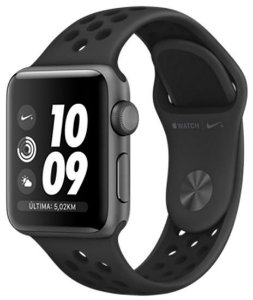 Apple Watch S3 Nike+ (GPS) Caixa Aluminio 38MM Pulseira Esportiva Cinza-Carvao/Preta MTF12