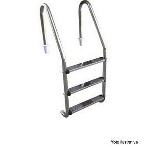 Escada para Piscina - Aço Inox - 3 Degraus em Aço Inox  - Quantidade de 3 a 8