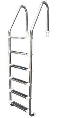 Escada para Piscina - Aço Inox - 6 Degraus em Aço Inox  - Quantidade de 3 a 8