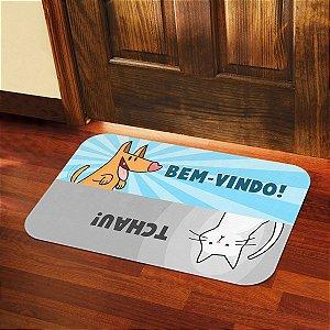 Tapete Decorativo Cão e Gato Bem Vindo Tchau