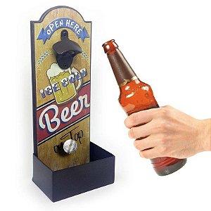 Abridor de Garrafa de Parede Open Here Ice Cold Beer