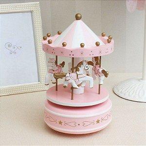 Caixa Musical Carrossel - rosa