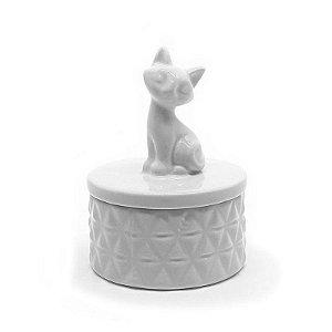 Potiche cerâmica Gato - branco