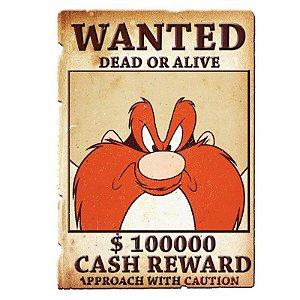Placa de Metal Decorativa Looney Tunes Wanted