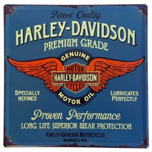 Placa de Metal Decorativa Harley Davidson - 30 x 30 cm
