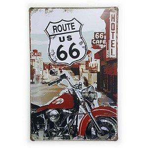 Placa de Metal Route 66 Hotel 66 Cafe - 30 x 20 cm
