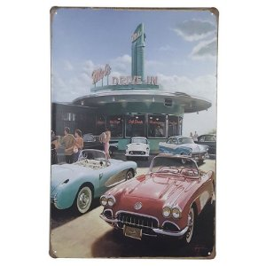 Placa de Metal Mel's Drive In - 30 x 20 cm