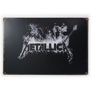Placa de Metal Metallica Logo - 30 x 20 cm