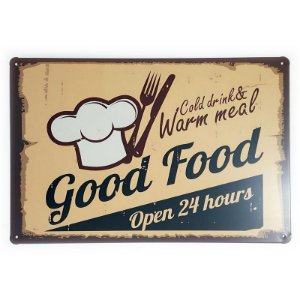 Placa de Metal Good Food Open 24 hours - 30 x 20 cm