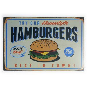 Placa de Metal Hamburgers - 30 x 20 cm
