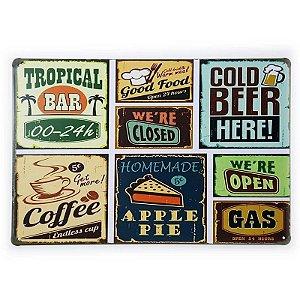 Placa de Metal Food Bar Beer and Coffee - 30 x 20 cm
