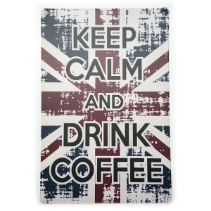 Placa de Metal Decorativa Keep Calm Drink Coffee