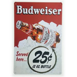 Placa de Metal Decorativa Budweiser