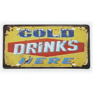 Placa de Metal Decorativa Cold Drinks Here
