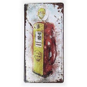 Placa de Metal Decorativa Bomba de combustível Shell Gasoline - 30 x 15 cm