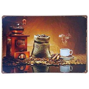 Placa de metal decorativa Retrô Moedor de café