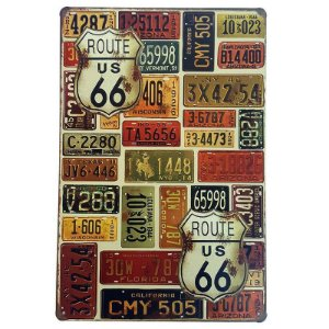 Placa de Metal Decorativa Route 66 Placas - 30 x 20 cm