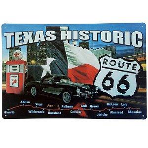 Placa de Metal Decorativa Texas Historic - 30 x 20 cm