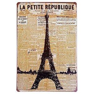 Placa de metal decorativa Retrô La Petite Republique