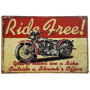 Placa de Metal Decorativa Ride Free - 30 x 20 cm