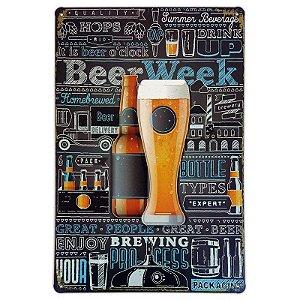 Placa de metal decorativa Retrô Beer Week