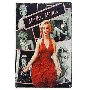 Placa de Metal Decorativa Marilyn Monroe - 30 x 20 cm