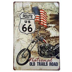 Placa de Metal Decorativa Old Trails Road - 30 x 20 cm