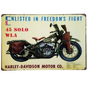 Placa de Metal Decorativa Harley Davidson 45 Solo WLA - 30 x 20 cm