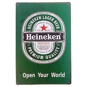 Placa de Metal Decorativa Heineken Open Your World- 30,5 x 15,5 cm