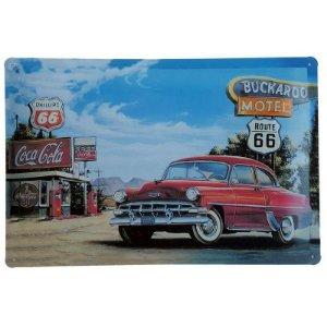Placa de Metal Decorativa Buckaroo Motel - 30 x 20 cm