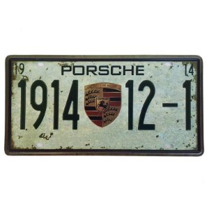 Placa de Metal Decorativa Porsche 1914 - 30,5 x 15,5 cm