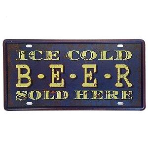 Placa de Metal Decorativa Ice Cold Beer - 30,5 x 15,5 cm