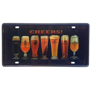 Placa de Metal Decorativa Cheers - 30,5 x 15,5 cm