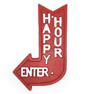 Placa Rústica de ferro Happy Hour