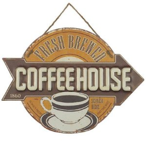Placa de Metal Alto Relevo Coffee House 1860