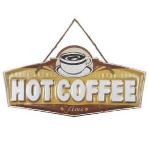 Placa de Metal Alto Relevo Hot Coffee