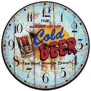 Relógio de Parede Retrô Cold Beer