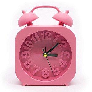 Relógio de mesa com despertador - rosa