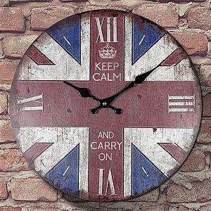 Relógio de Parede Keep Calm and Carry On
