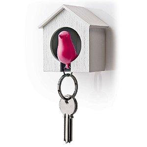 Porta Chaves e Chaveiro Passarinho Sparrow Key Ring - rosa