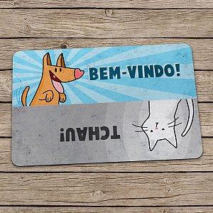 Capacho Eco Slim 3mm Cão e Gato Bem-vindo Tchau