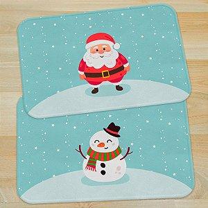Jogo de Tapetes Natal Papai Noel e Boneco de neve - 2 peças