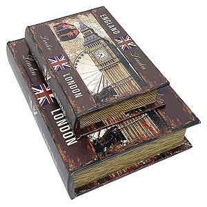 Kit Caixa Livro Decorativa London Bus - 2 peças