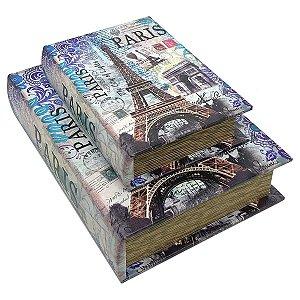 Kit Caixa Livro Decorativa France Paris Eiffel Tower - 2 peças