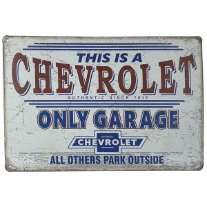 Placa de Metal Chevrolet Only Garage - 30 x 20 cm