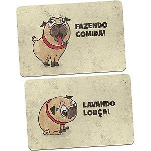 Kit Tapetes de Cozinha Pug Comida vs Louça - 2 peças